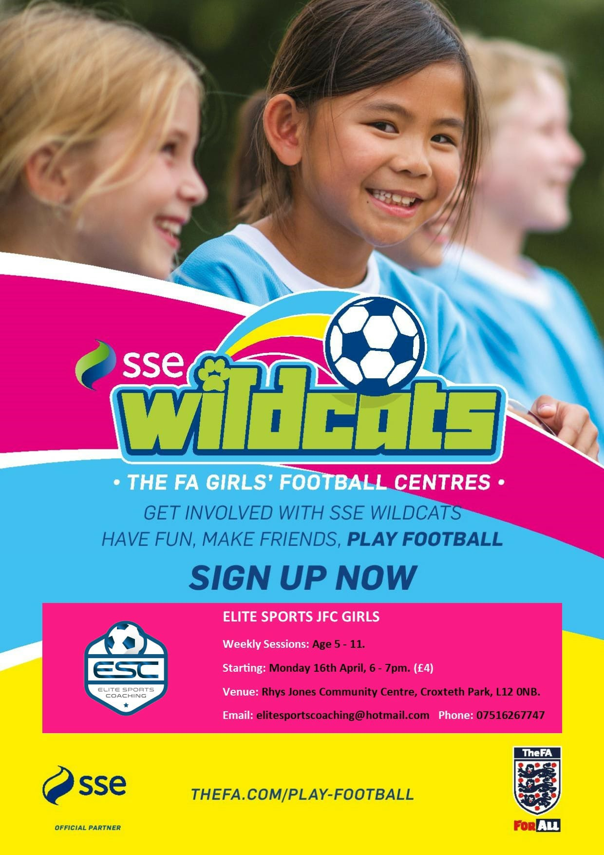 Wildcats girls football at the Rhys Jones Community Centre