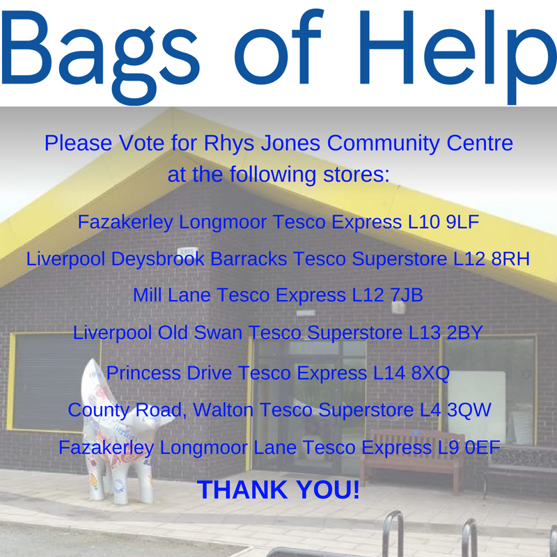 Bags of Help - Where to vote for Rhys Jones Community Centre Liverpool