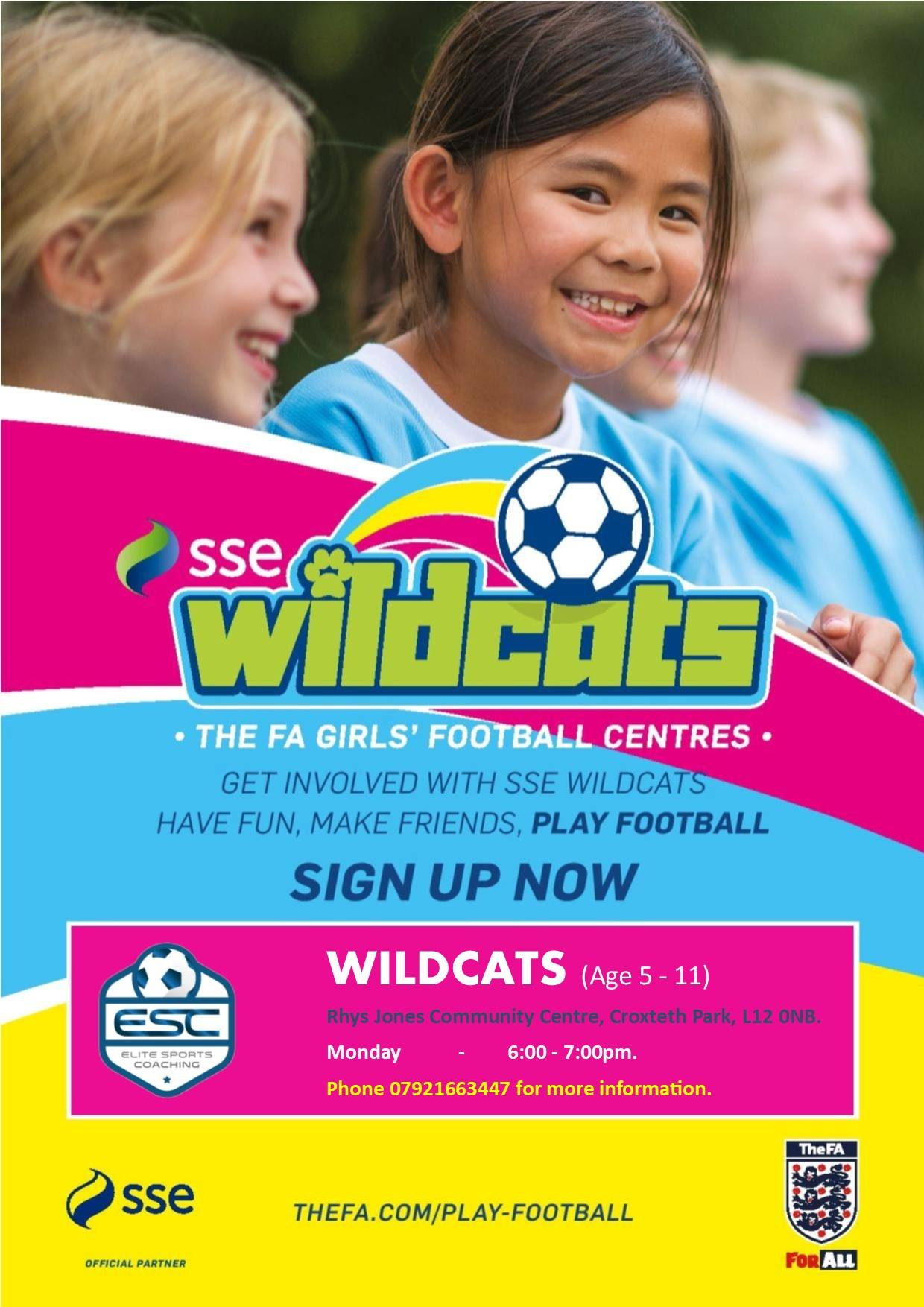 Wildcats girls football at Rhys Jones Community Centre Croxteth Park, Liverpool
