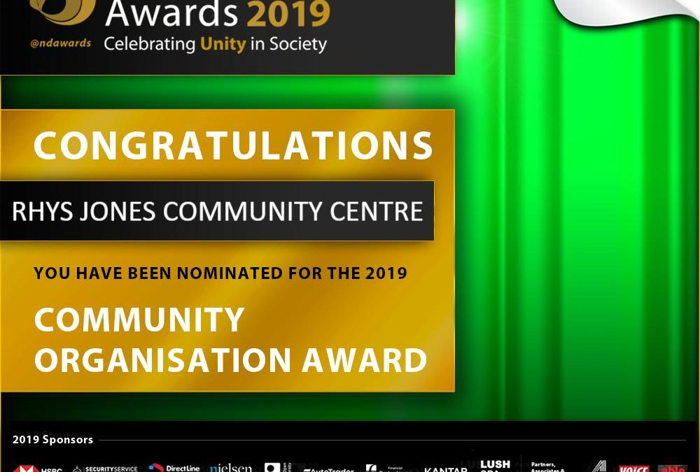 Rhys Jones Community Centre Nominated for the UK' Largest Diversity Awards