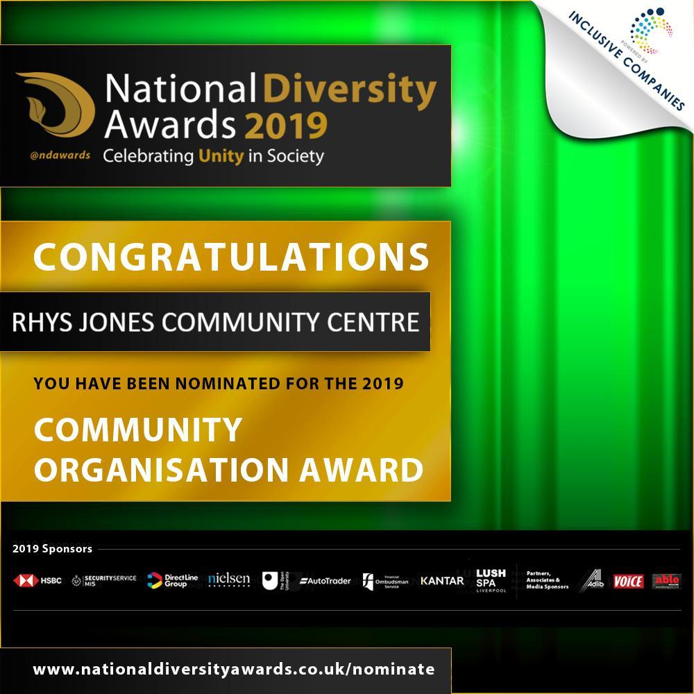 Rhys Jones Community Centre National Diversity Awards Nomination