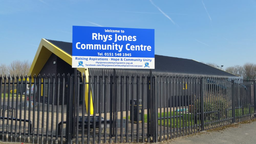 Rhys Jones Community Centre Croxteth Park Liverpool sign